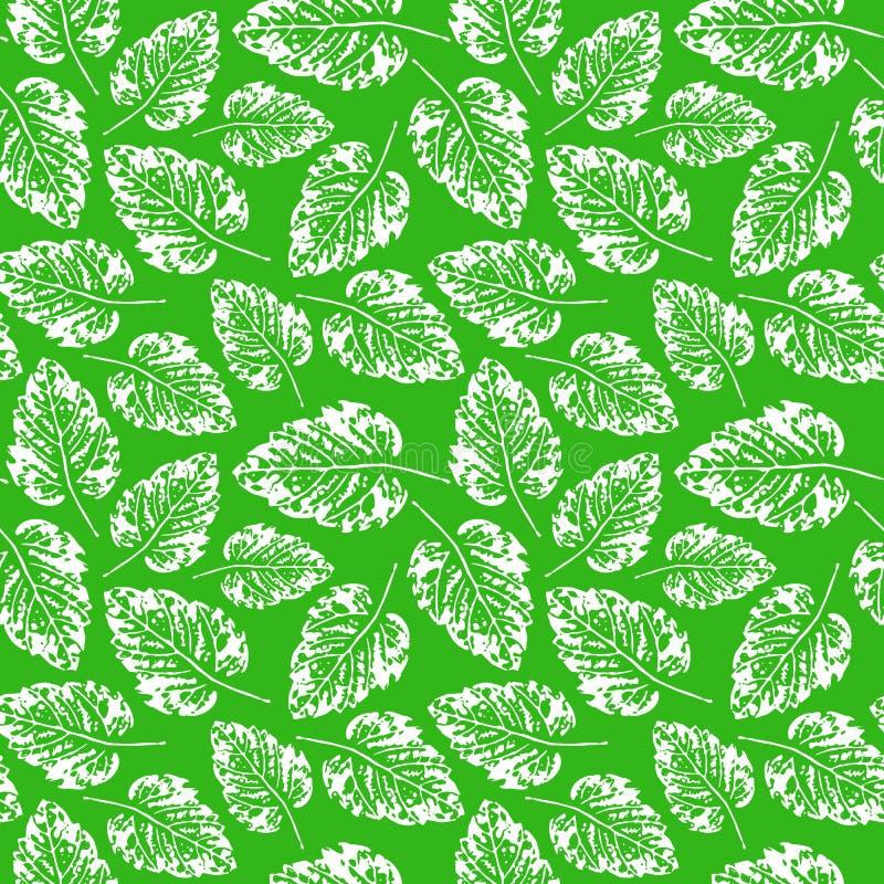 Naadloos handcrafted patroon met bladeren royalty-vrije illustratie