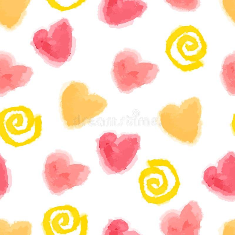 Naadloos harten en wervelingenpatroon voor Valenti royalty-vrije illustratie
