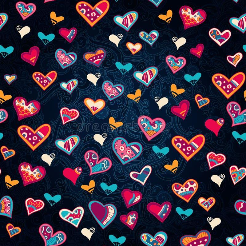 Naadloos hartpatroon voor de dag van de valentijnskaart royalty-vrije illustratie