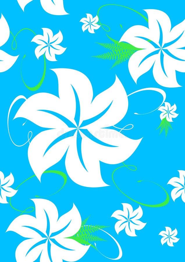 Naadloos Hawaiiaans Patroon Aloha op Blauw royalty-vrije illustratie