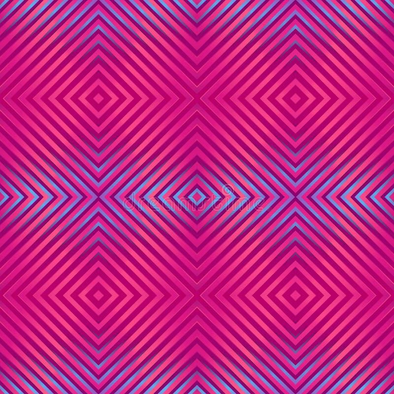 Naadloos helder abstract patroon Geometrische druk die uit vierkante lijnen purpere, roze, blauwe kleuren wordt samengesteld stock illustratie