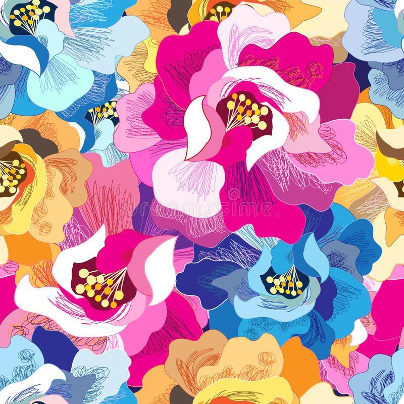Naadloos helder bloemenpatroon vector illustratie