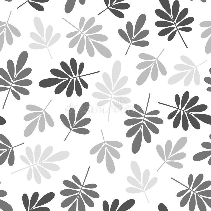 Naadloos helder grafisch gestileerd grijs monotoon gebleekt natuurlijk de textuurelement van het bladerenpatroon op witte achterg royalty-vrije stock afbeeldingen