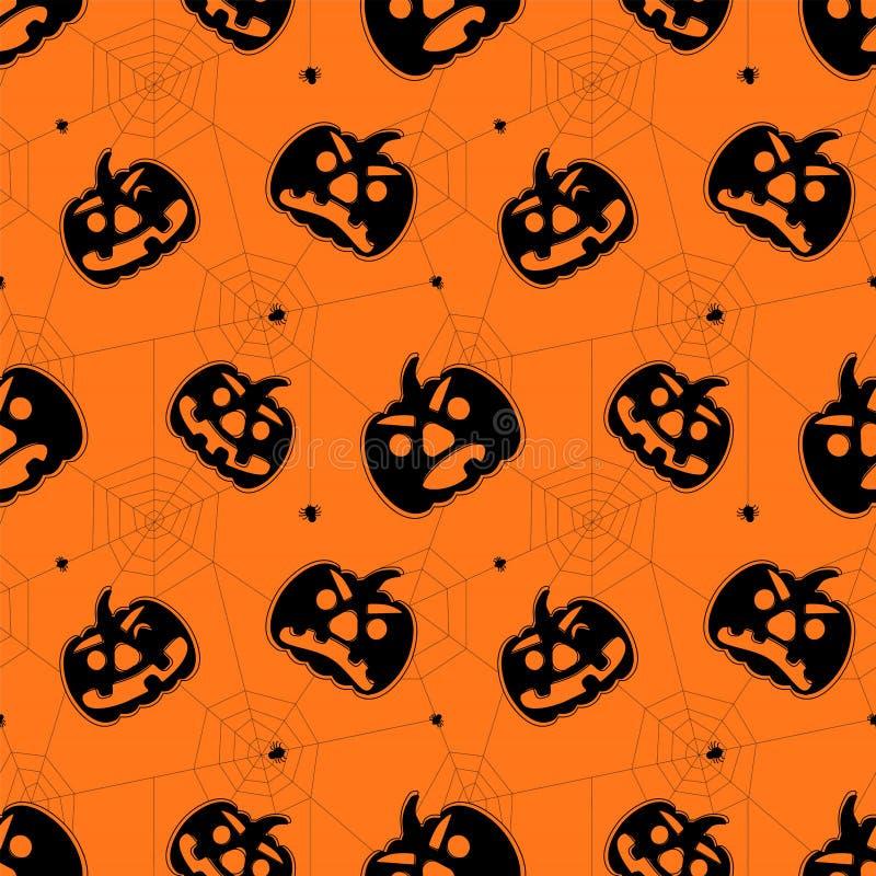 Naadloos helder Halloween-patroon Het patroon van de beeldverhaalstijl met pompoenen, spinnen en spinneweb vector illustratie