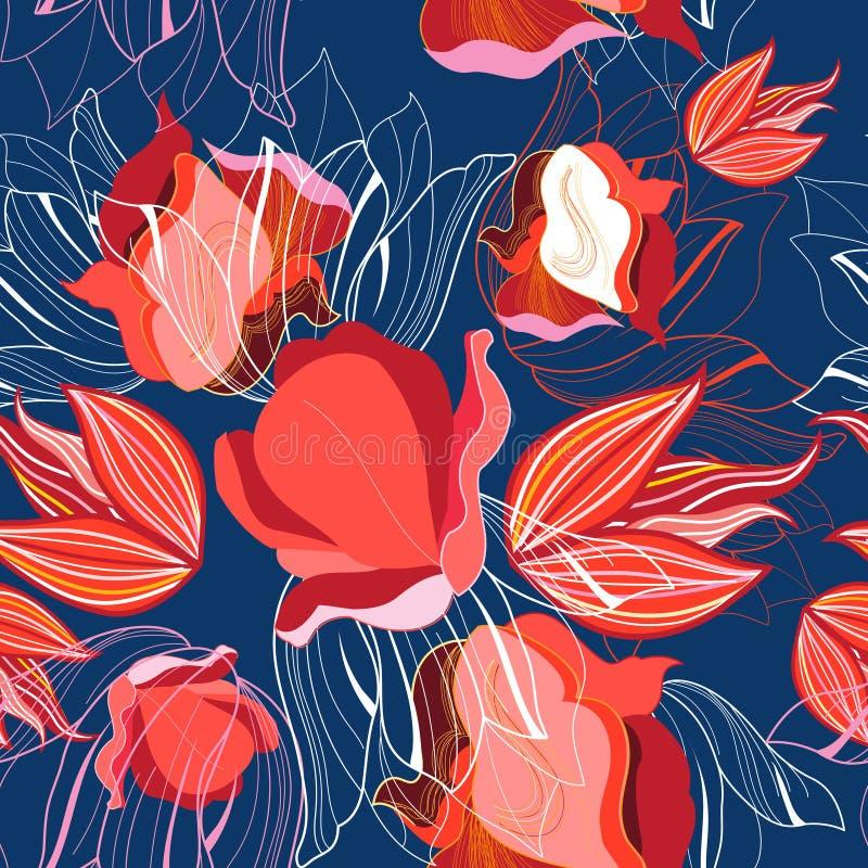 Naadloos helder patroon van rode tulpen vector illustratie