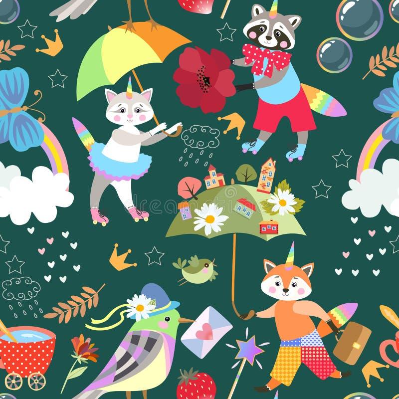 Naadloos helder patroon voor baby met eenhoornskatje, wasbeer en weinig vos, regenboog, vlinder, bloemen, kroon, toverstokje vector illustratie