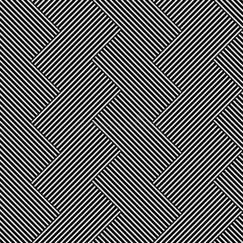 Naadloos (herhaalbaar) geometrisch abstract zwart-wit patroon til royalty-vrije illustratie