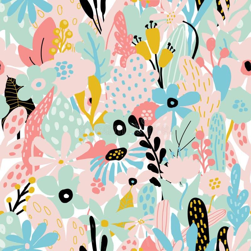 Naadloos het herhalen patroon met bloemenelementen in pastelkleuren op witte achtergrond vector illustratie