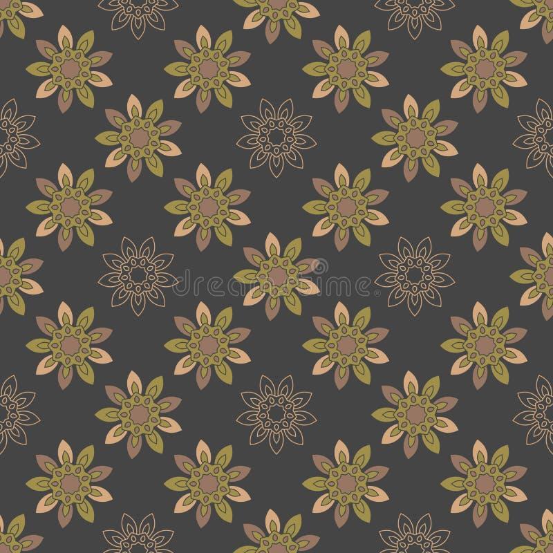 Naadloos het herhalen patroon met gekleurde abstracte bloemen stock illustratie