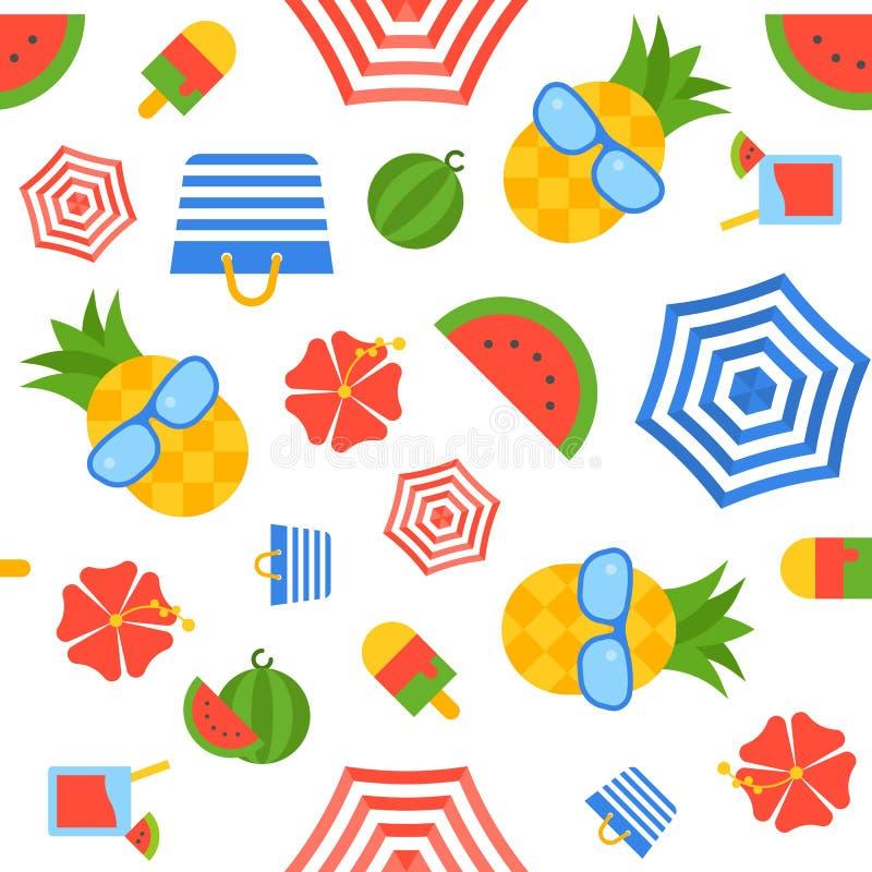 Naadloos het patroon vector, vlak ontwerp van het de zomerthema vector illustratie