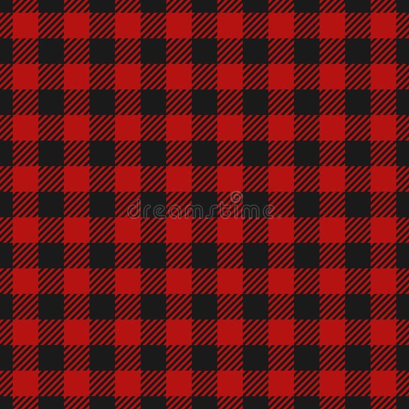 Naadloos het patroonflanel van de houthakkersplaid, Afwisselende donkerrode en zwarte vierkanten geruite achtergrond Schotse kooi vector illustratie