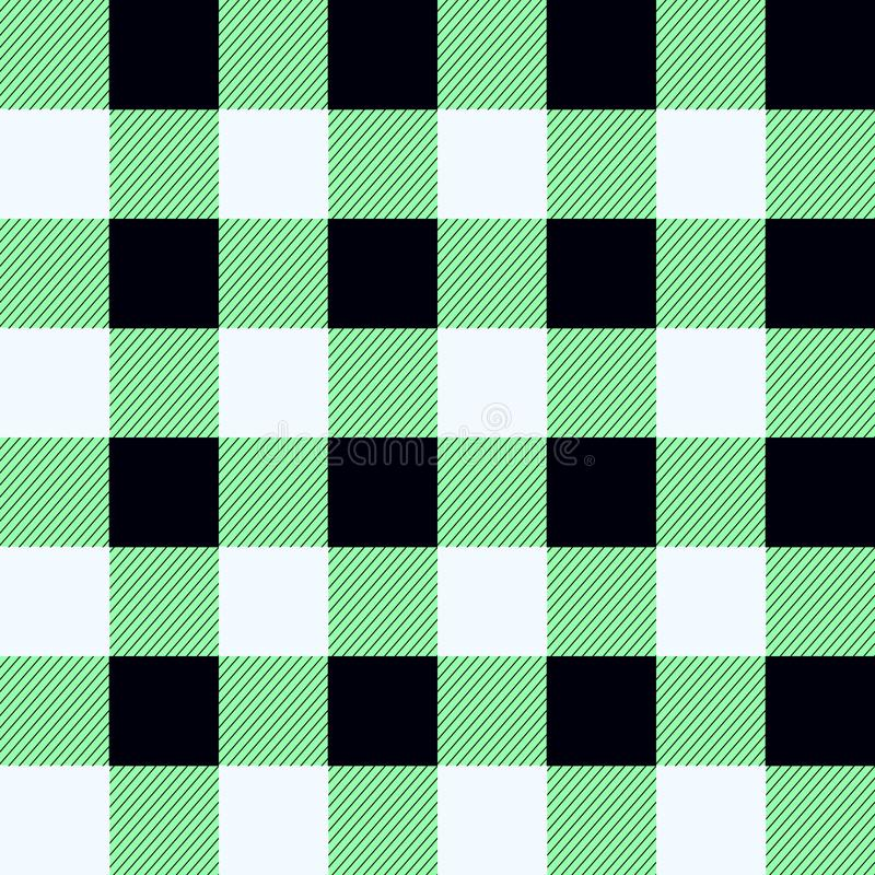 Naadloos het Patroonontwerp van de buffelsplaid groen, zwart-wit geruit Schots wollen stof royalty-vrije illustratie