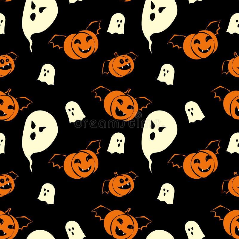 Naadloos het patroonontwerp van Halloween met spoken en pompoenenvampieren vector illustratie