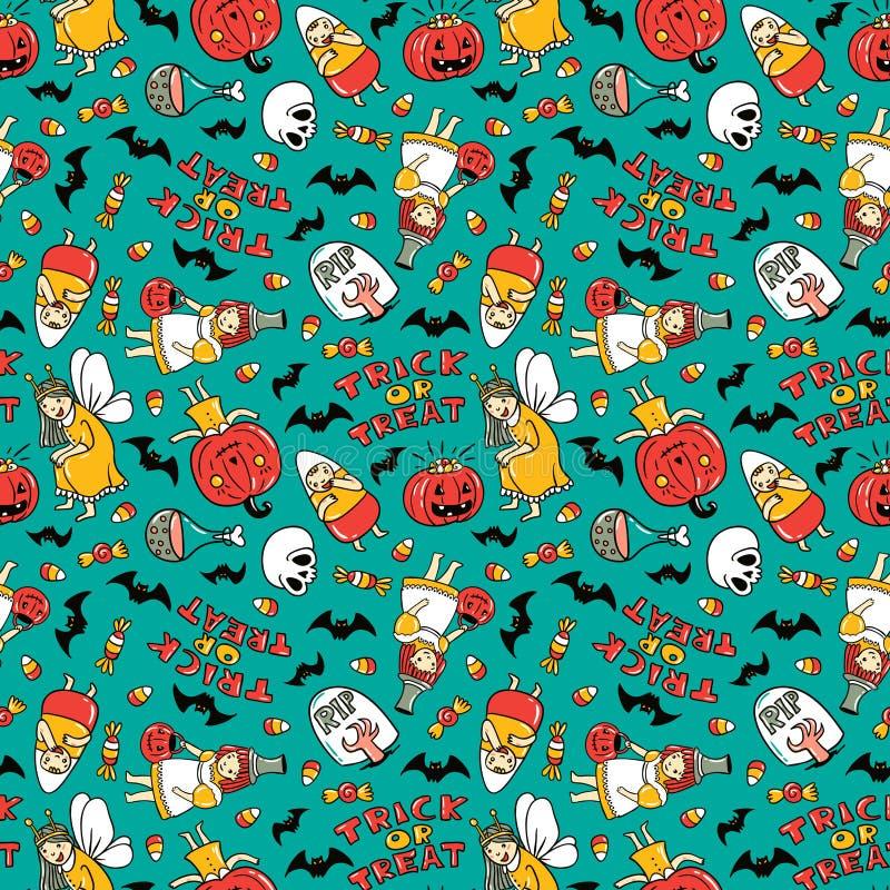 Naadloos het patroonontwerp van Halloween Vectorachtergrond met kinderen in kostuums stock illustratie