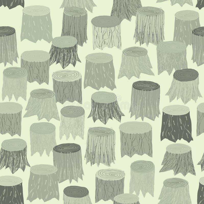 Naadloos het patroontapijtwerk van de boomstomp in grijs vector illustratie