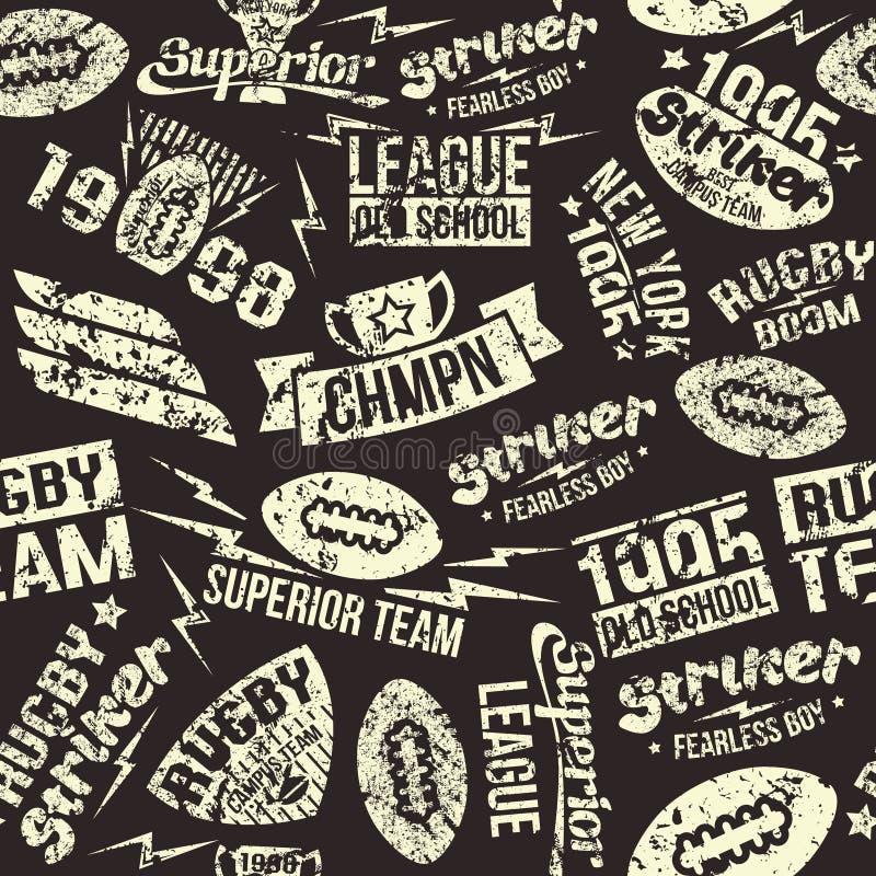Naadloos het rugbyembleem van de patroonsport vector illustratie