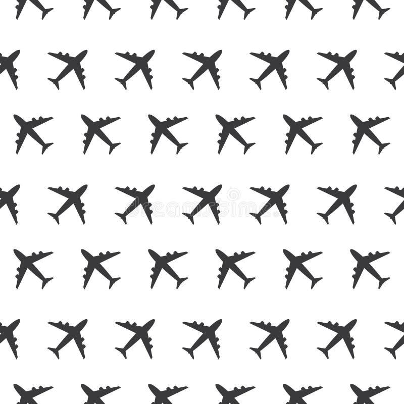 Naadloos het Teken Duidelijk Patroon Silhoue van de vliegtuig Commercieel Luchtvaart vector illustratie