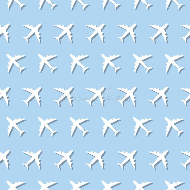 Naadloos het Tekenpatroon van de vliegtuig Commercieel Luchtvaart royalty-vrije illustratie