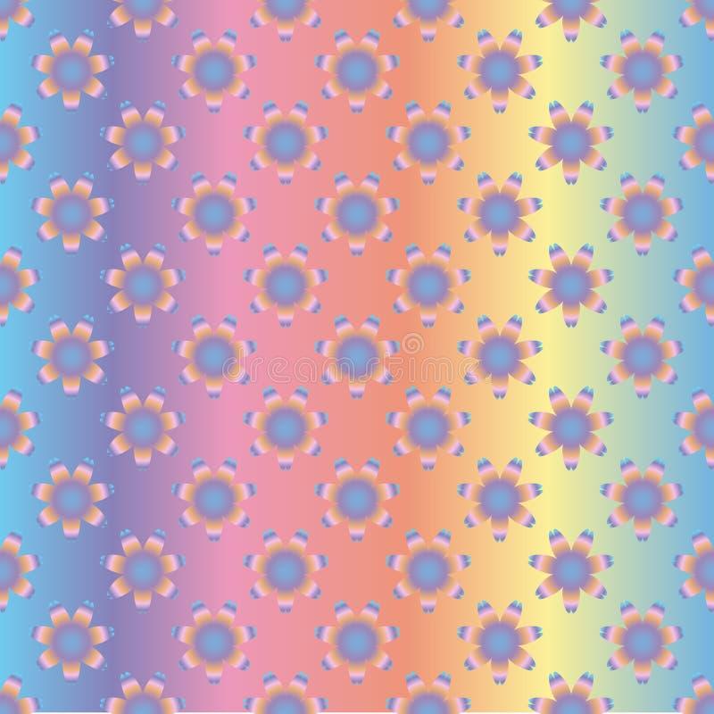 Naadloos holografisch patroon van regenboogbloemen, op een gradiënt gekleurde achtergrond stock illustratie