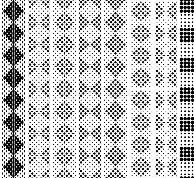 Naadloos in hoogte, geruit zwart-wit kantpatroon voor grens, band, riem, strook, het scherpen Zwarte op Wit Beeldverhaal polair m royalty-vrije illustratie