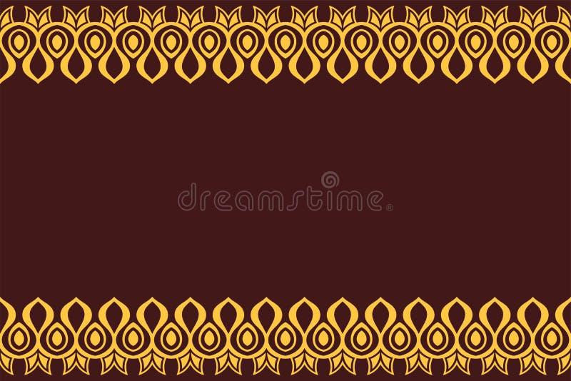 Naadloos horizontaal grenspatroon met gele antieke geometrische symbolen dat op bruine achtergrond wordt geïsoleerd royalty-vrije illustratie