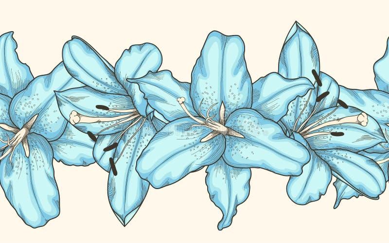 Naadloos horizontaal kaderelement van blauwe leliesbloemen Hand-drawn contourlijnen en slagen royalty-vrije illustratie