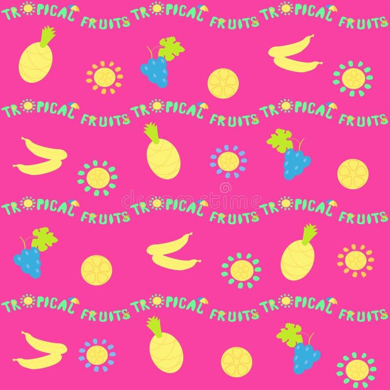 Naadloos horizontaal patroon Tropische vruchten, zon en het van letters voorzien stock illustratie