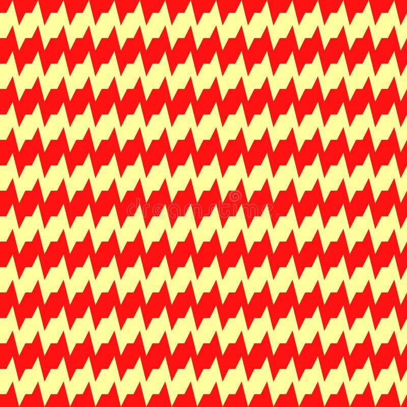 Naadloos horizontaal scherp gestreept patroon Herhaalde rode hoekige lijnen op gele achtergrond Zigzagmotief Golvende Vector vector illustratie