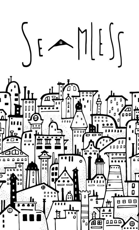 Naadloos horizontaal stadspatroon royalty-vrije illustratie