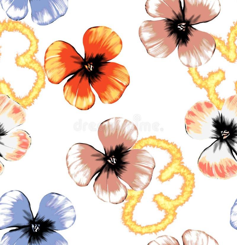 Naadloos illustratie bloemenpatroon met brandeffect stock illustratie