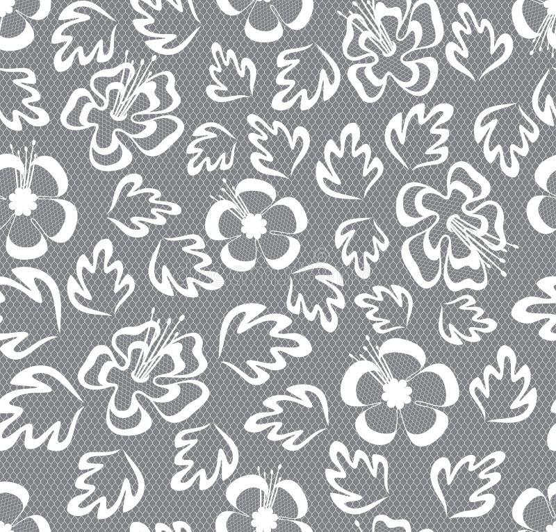 Naadloos kant bloemenpatroon op grijze achtergrond vector illustratie