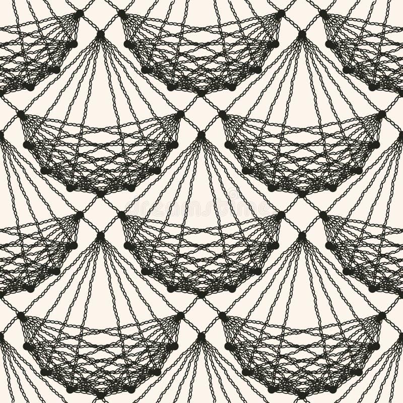 Naadloos kant gebreid patroon Detail gevoerd kanten materieel ontwerp Zwarte gevormde netto tegeltextuur op lichte achtergrond vector illustratie