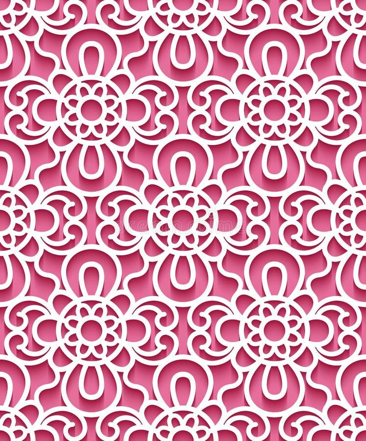 Naadloos kantpatroon op roze achtergrond vector illustratie