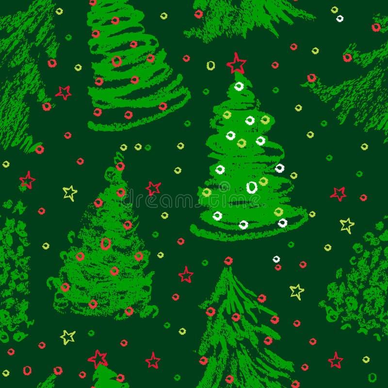 Naadloos Kerstbomenpatroon vector illustratie