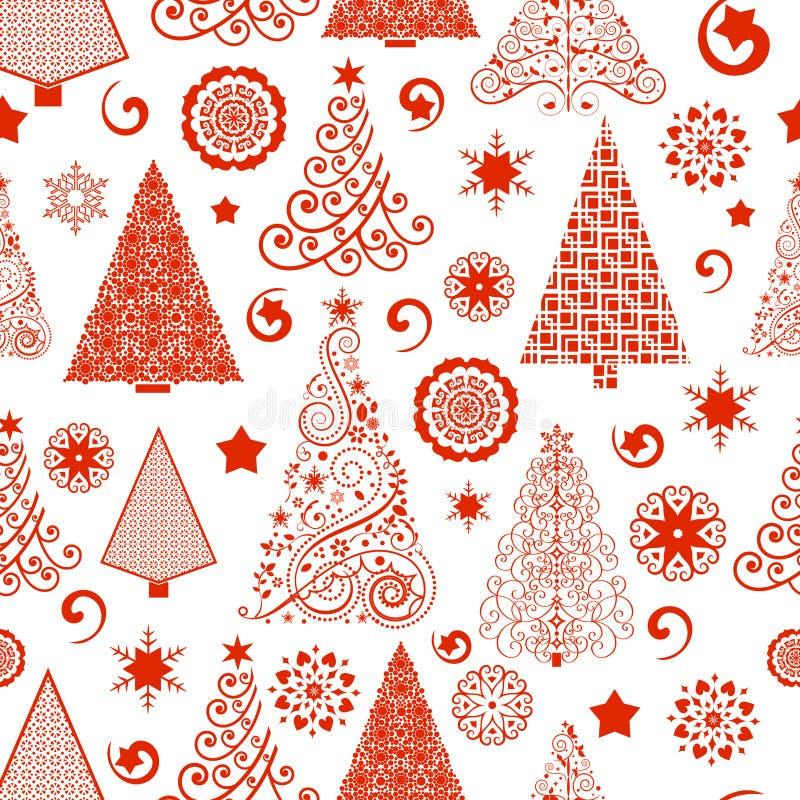 Naadloos Kerstboompatroon royalty-vrije illustratie