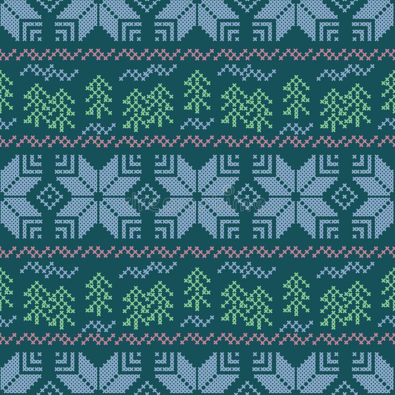 Naadloos Kerstmis gestreept patroon borduurwerk Sneeuwvlokken, Kerstbomen op een blauwe achtergrond royalty-vrije illustratie