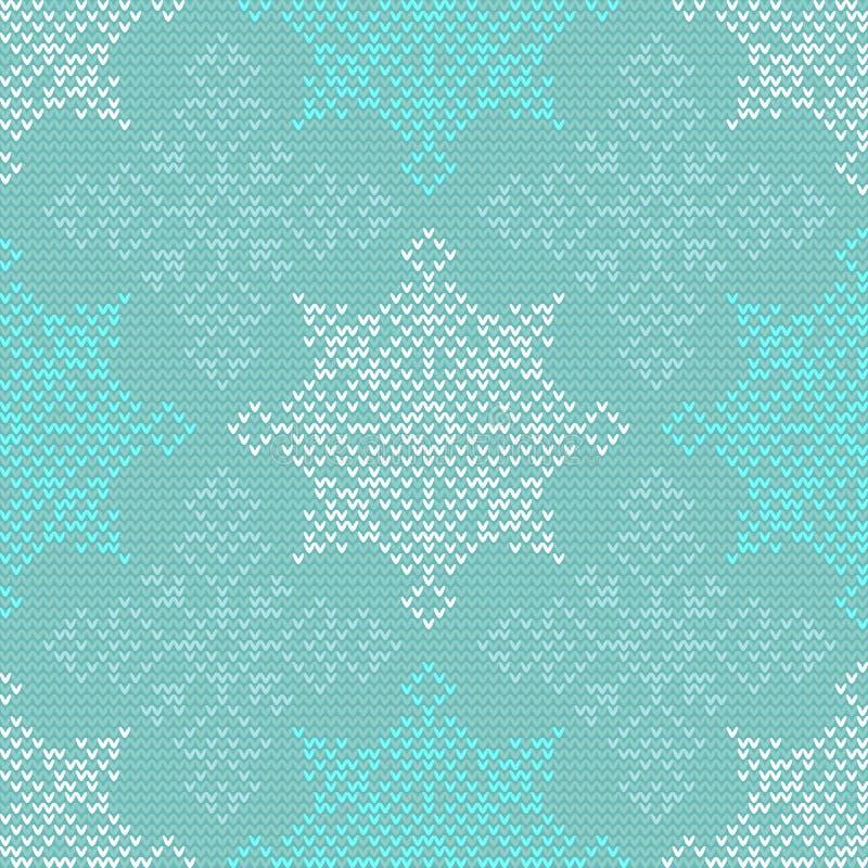Naadloos Kerstmis noords breiend vectorpatroon met kleurrijke sneeuwvlokken royalty-vrije illustratie