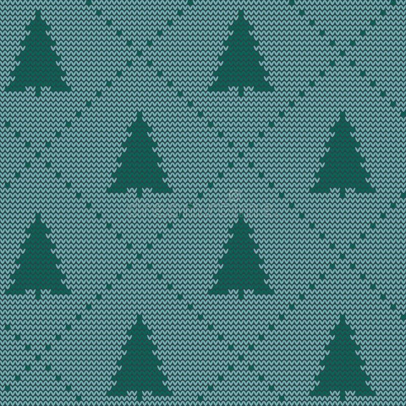 Naadloos Kerstmis noords breiend vectorpatroon met kleurrijke sparren en decoratieve lijn stock illustratie
