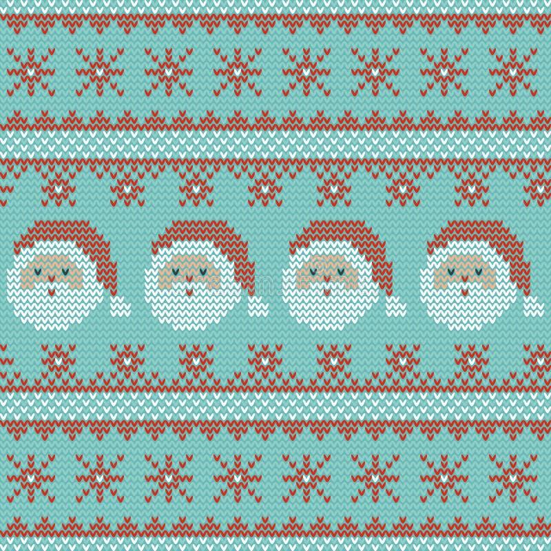 Naadloos Kerstmis noords breiend vectorpatroon met Santa Claus, sneeuwvlokken en decoratieve strepen stock illustratie
