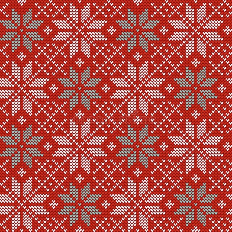 Naadloos Kerstmis noords breiend vectorpatroon met Selburose en decoratieve elementen royalty-vrije illustratie