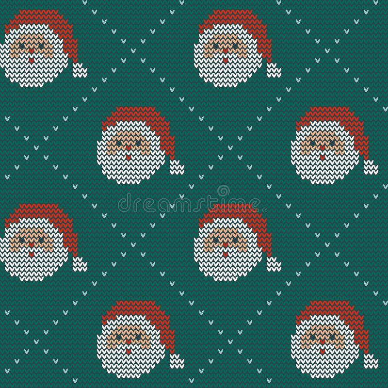 Naadloos Kerstmis noords breiend vectorpatroon met Selburose en decoratieve elementen vector illustratie