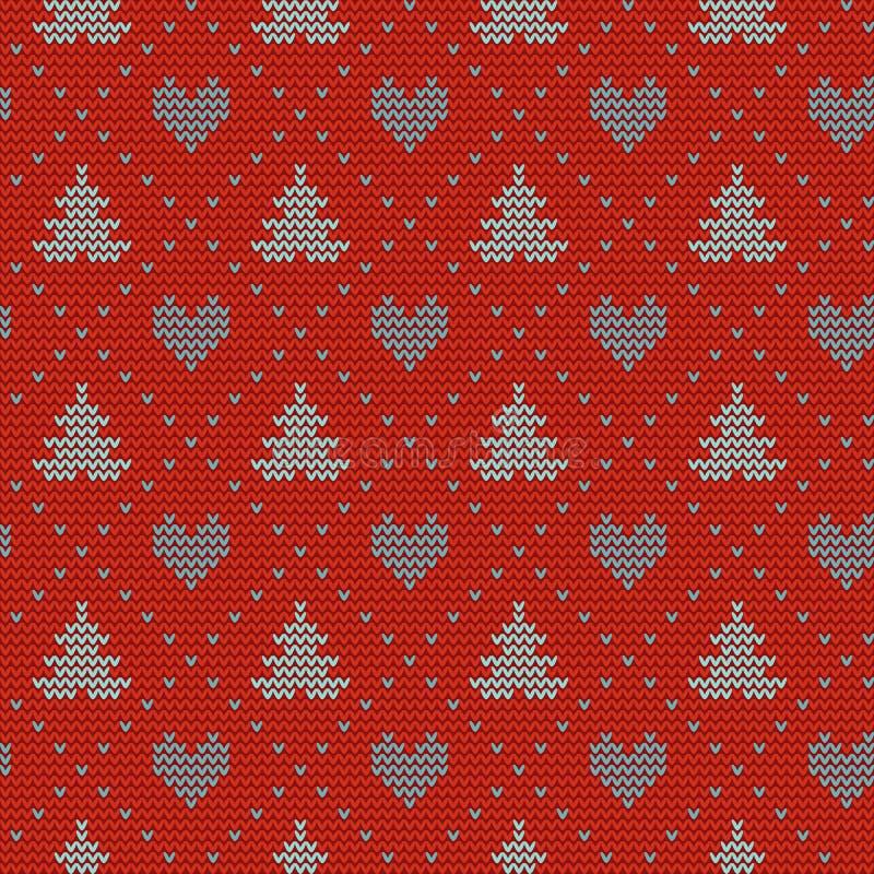 Naadloos Kerstmis noords breiend vectorpatroon met sparren, harten en decoratieve lijn vector illustratie