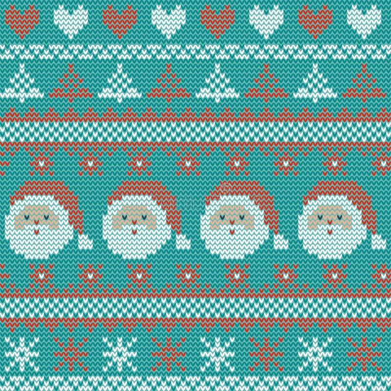 Naadloos Kerstmis noords breiend vectorpatroon met sparren, sneeuwvlokken, harten, Santa Claus en decoratieve strepen vector illustratie