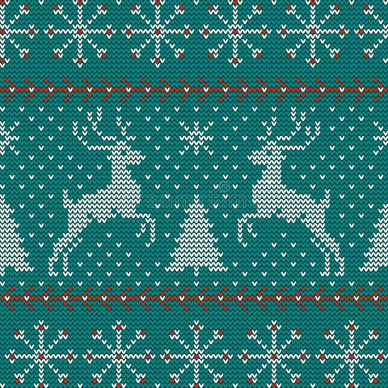 Naadloos Kerstmis noords breiend vectorpatroon met sparren, sneeuwvlokken, herten, sneeuw en decoratieve strepen royalty-vrije illustratie