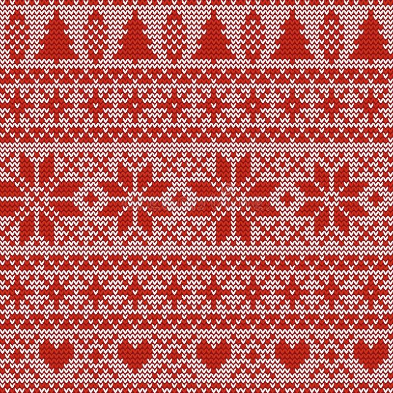 Naadloos Kerstmis noords breiend vectorpatroon met sparren, sneeuwvlokken, Selburose of harten stock illustratie