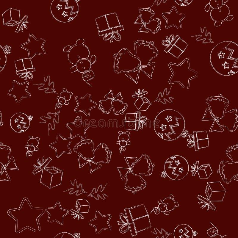 Naadloos Kerstmispatroon, illustratie De symbolen van het nieuwjaar op een Bordeauxachtergrond Ideaal voor behang, verpakkend doc royalty-vrije illustratie