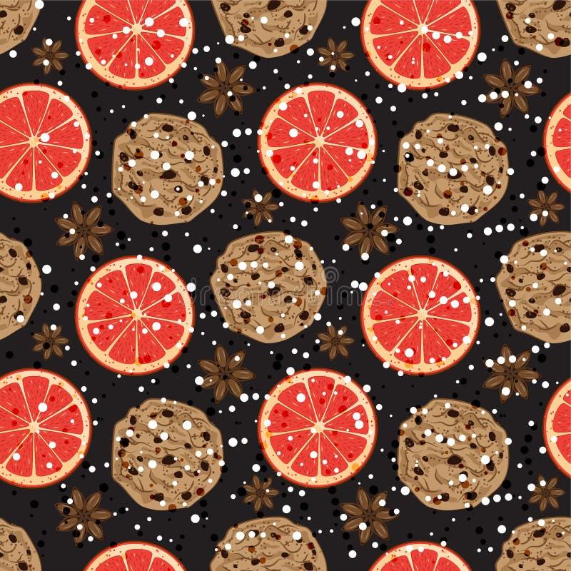 Naadloos Kerstmispatroon met Amerikaanse koekjes, anijsplant en grapefruit De vector illustreerde de geurige achtergrond van de v royalty-vrije illustratie
