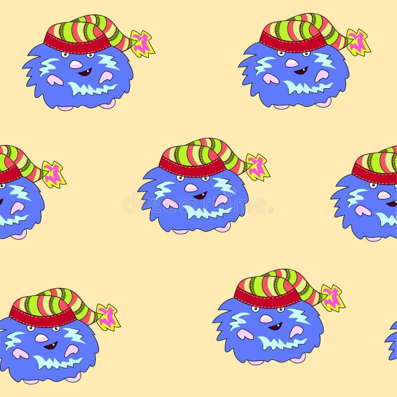 Naadloos Kerstmispatroon met blauwe dwerg - voorraadvector royalty-vrije illustratie