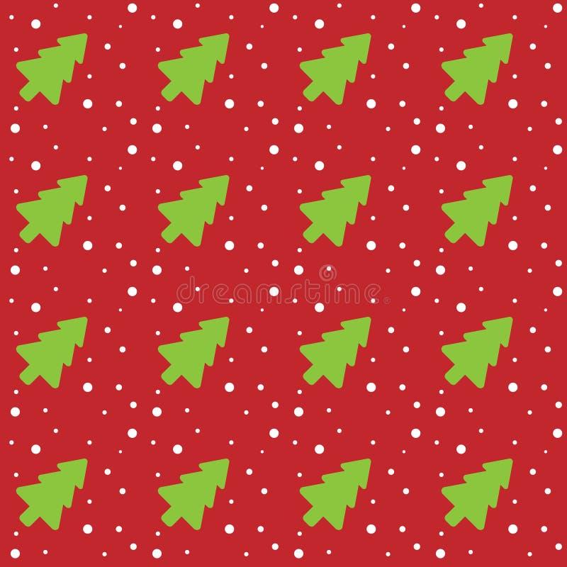 Naadloos Kerstmispatroon met groene Kerstbomen en sneeuwvlokken op een rode abstracte achtergrond Vector illustratie royalty-vrije illustratie