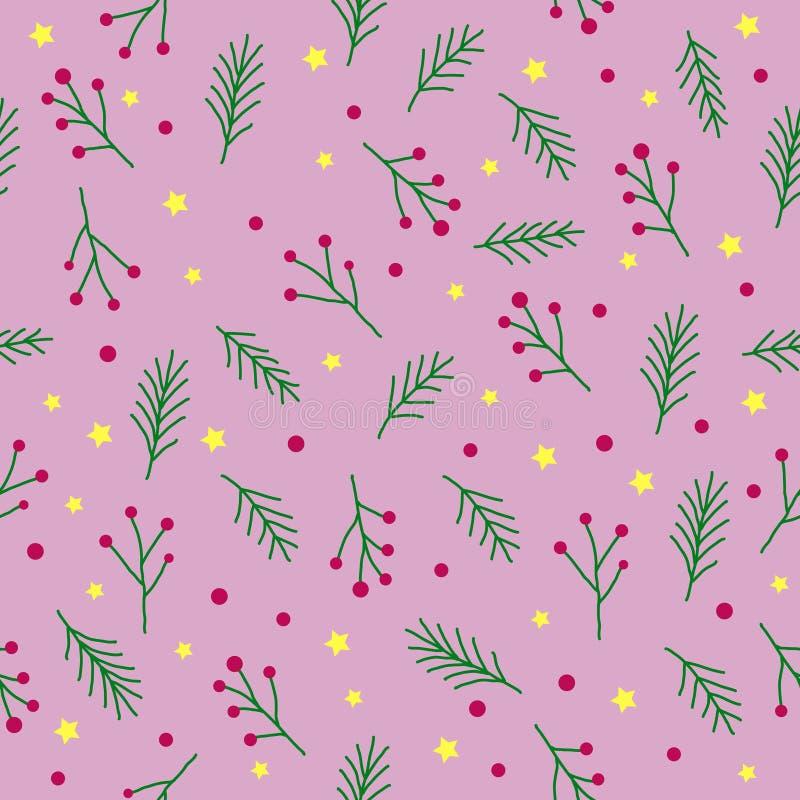 Naadloos Kerstmispatroon met groene spartakjes, rode bessen, de nette gele sterren en de cirkels van de boomtwijg op roze achterg stock illustratie